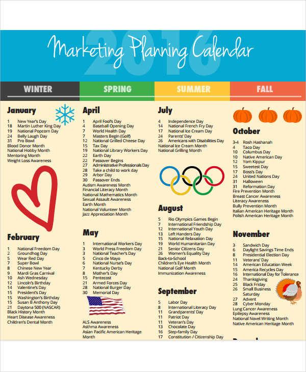 marketing planning calendar template