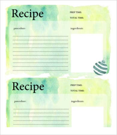 generic recipe card template