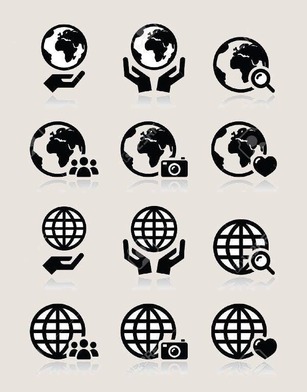 globe-in-hand-icons-set