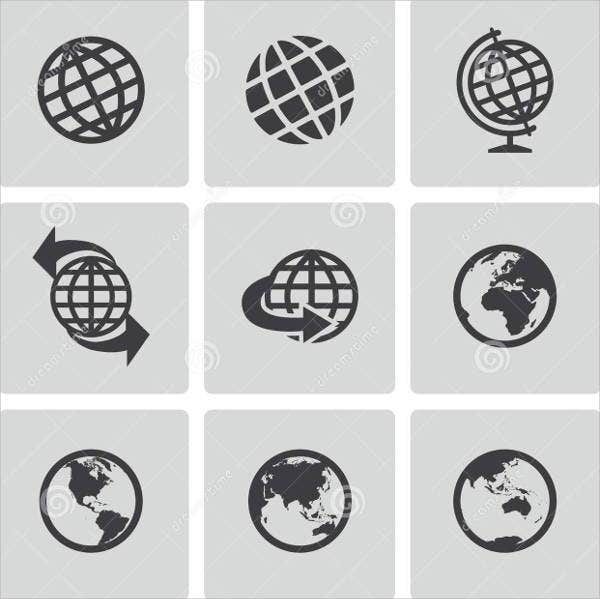black-globe-icons-set