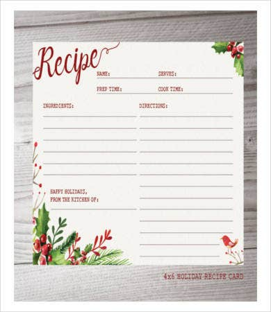 Holiday Recipe Card Sample