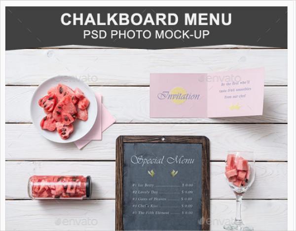 Chalkboard Menu PSD Mockup