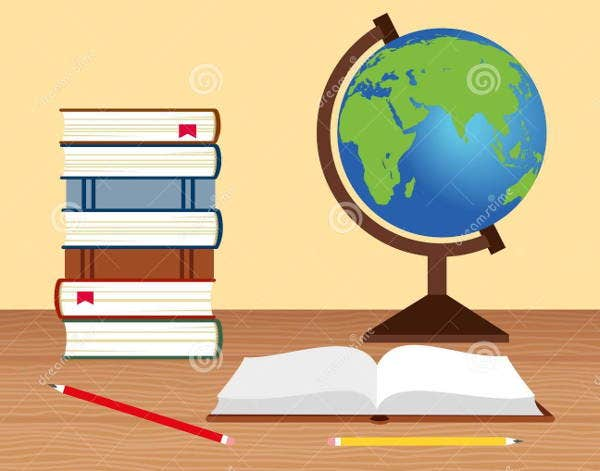 books-and-globe-vector-illustration