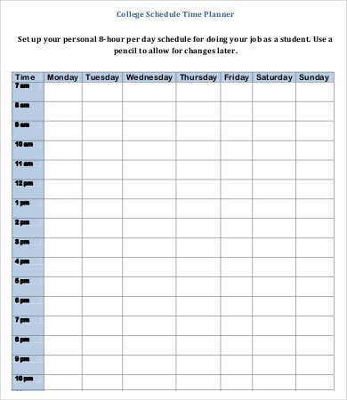 College Hourly Planner Template