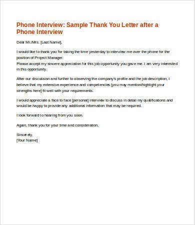 Thank You Letters After An Interview   Free Word Pdf Documents