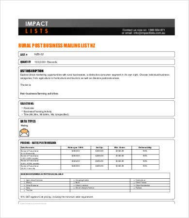 business mailing list template