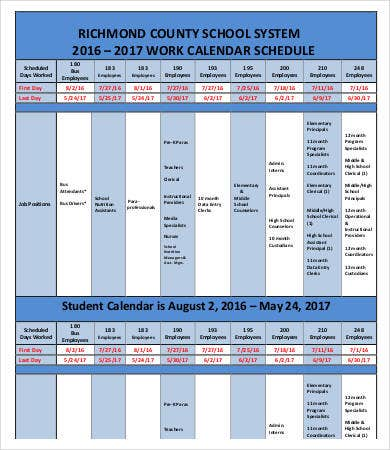 Employee Work Calendar Schedule