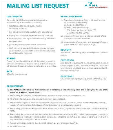 printable mailing list template