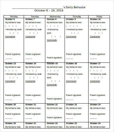 Student Daily Work Behavior Calendar Template