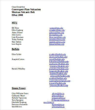 class mailing list template