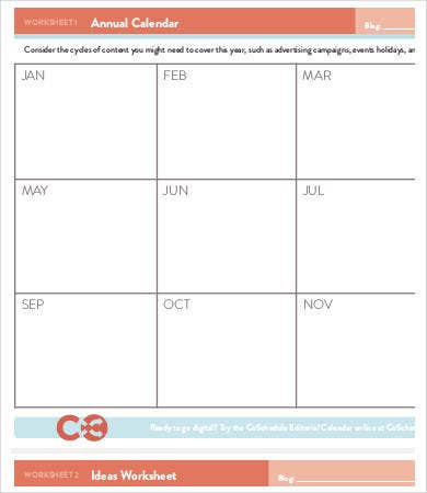 Blank Annual Calendar Sample