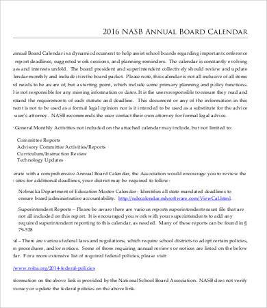 annual board calendar