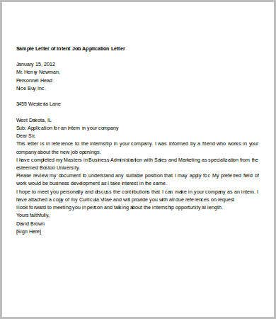 letter of intent for job application template - Job Opening Letter Of Intent