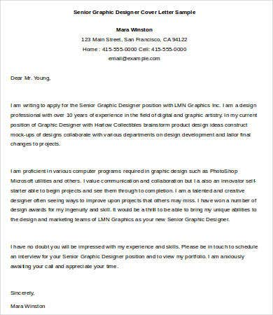 senior graphic designer cover letter