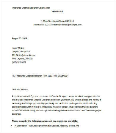 Graphic Designer Cover Letter Template - 7+ Free Word, Documents ...