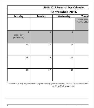 Personal Calendar - 9+Free Word, Pdf Documents Download | Free
