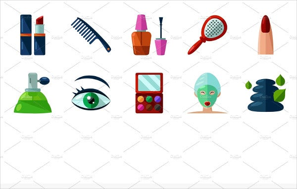 Flat Beauty Icons Set