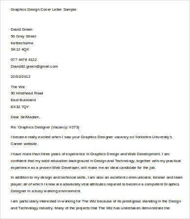 graphics design cover letter sample