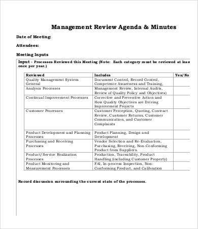 management review minutes of meeting sample
