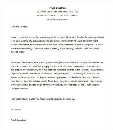 Graphic Designer Cover Letter Template - 5+ Free Word, Documents