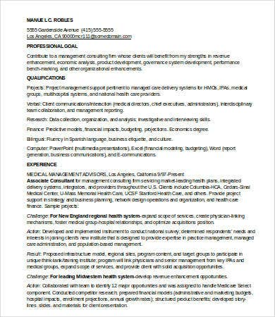 7 Management Consulting Resume Templates Pdf Doc Free