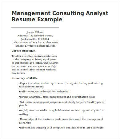 management consulting analyst resume