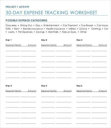 Project Expense Tracking Worksheet Template