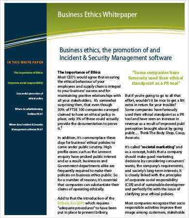 Good Business Ethics White Paper Template Intended Free White Paper Templates