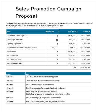 Sales Promotion Campaign Proposal Template