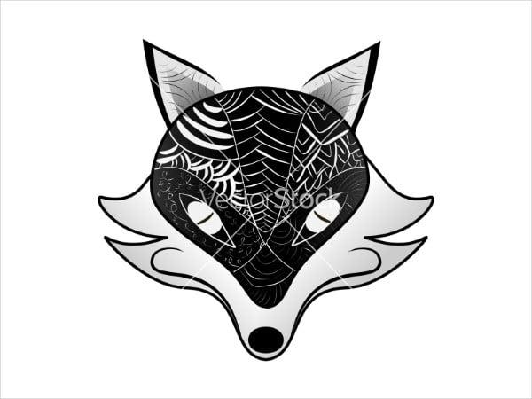 black and white fox silhouette
