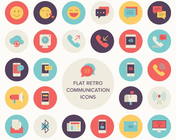 Flat Retro Communications Icon Set