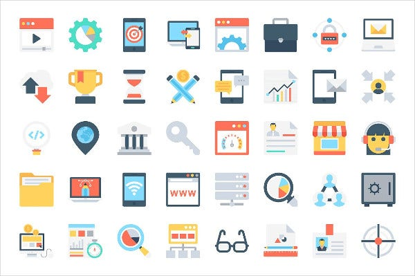 168 Flat Digital Communication Marketing Icons