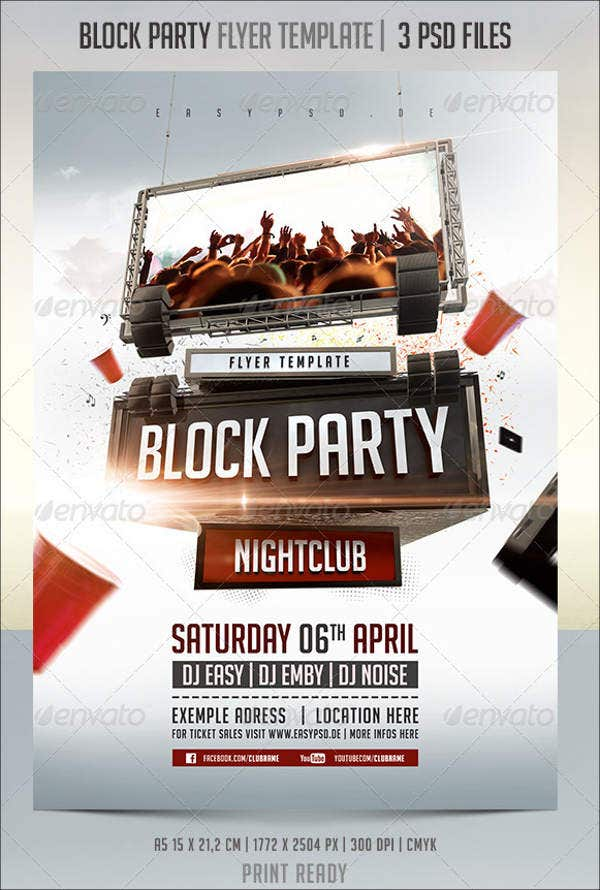 9 amazing block party flyers free premium templates for Block party template flyers free