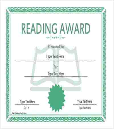 reading award certificate template min