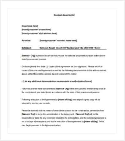 contract award letter word format min