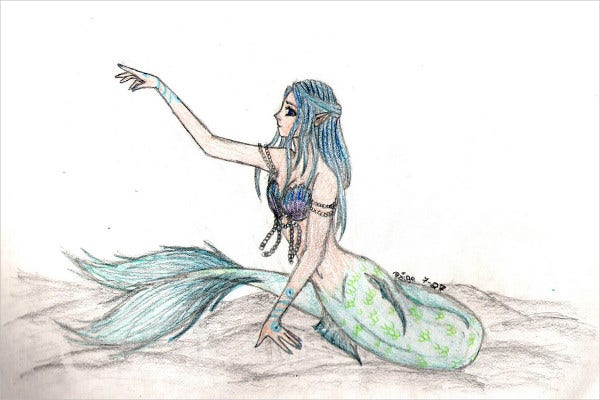 Mermaid Sketch Drawing