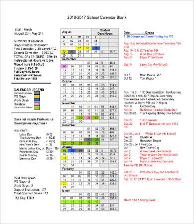 blank school calendar templates