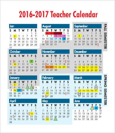 Blank Calendar Templates For Teachers