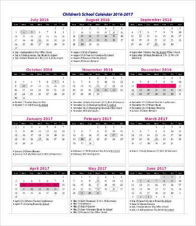 Blank Children's Calendar Templates
