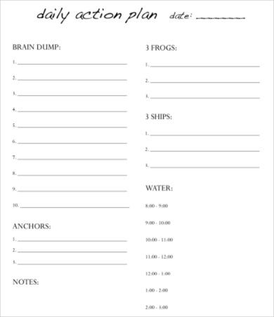 action day planner template