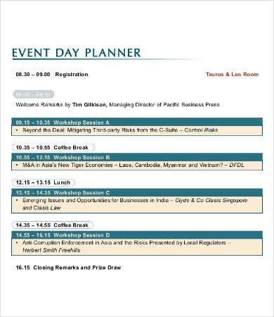 event day planner template