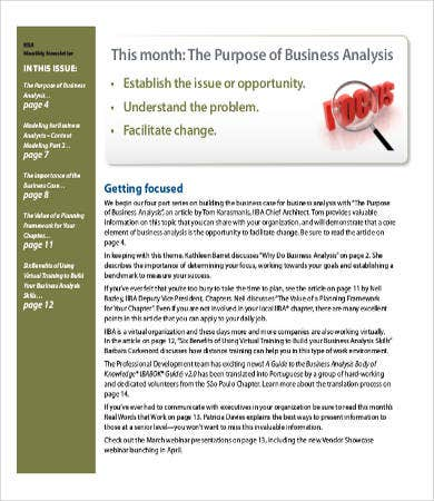 Business Analyst Newsletter