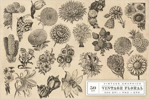 Vintage Flower Vector