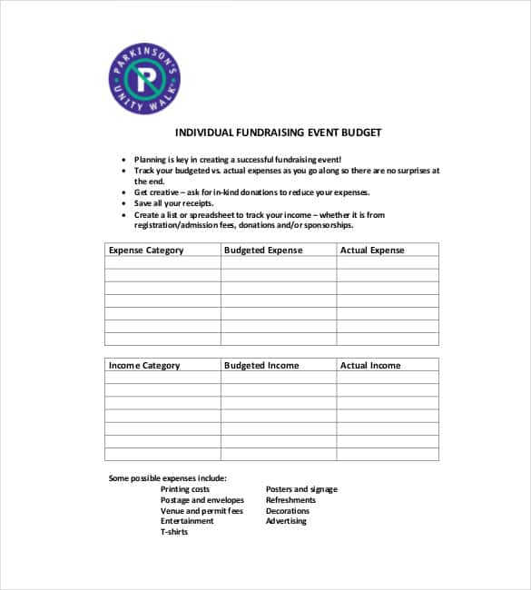 free fundraising event budget template min