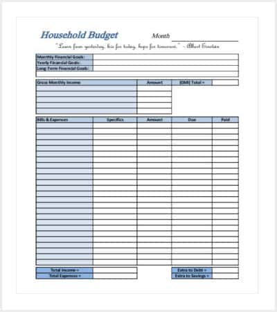 household financial budget template min