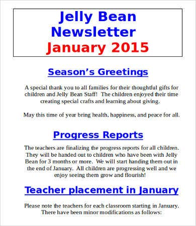 Classroom Monthly Newsletter Template