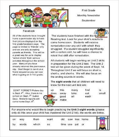 First Grade Monthly Newsletter Template