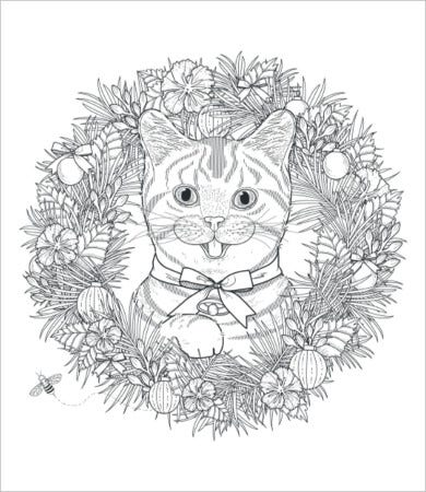 mandala cat coloring page