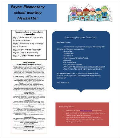 Elementary school monthly Newsletter