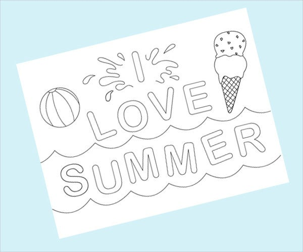 9 cool summer coloring pages pdf png free premium for Summer themed coloring pages